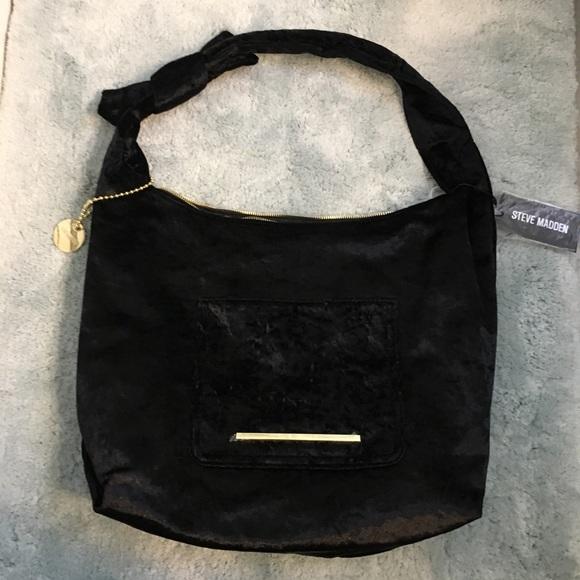 d9952b0fec Steve Madden Black Velvet Hobo Bag